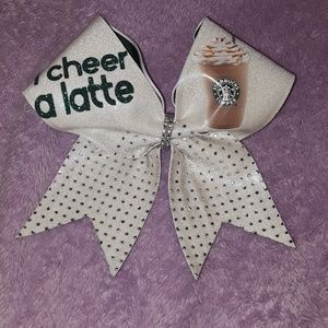 """I Cheer a Latte"" Starbucks Cheer Bow"